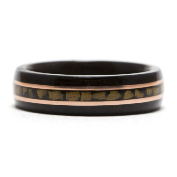 Ebony Wooden Ring With Copper And Tiger Eye Inlay