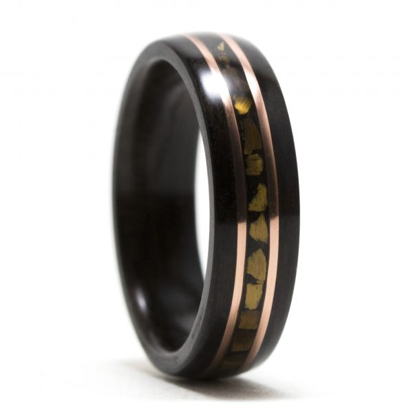 Ebony Wood Ring Inlaid With Copper And Tiger Eye