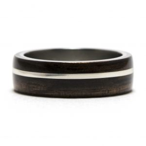 Ebony Wood Ring Lined With Titanium And Silver Inlay – Size 9.5