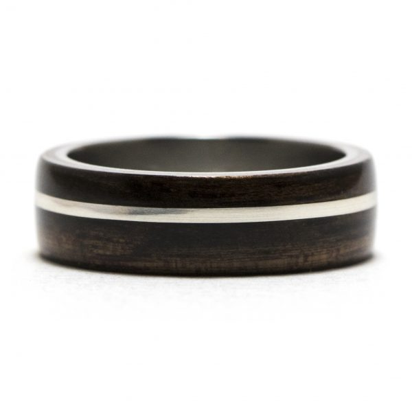 Ebony Wooden Ring Lined With Titanium And Silver Inlay