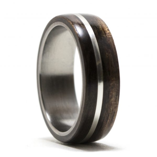 Ebony Wood Ring Lined Titanium Inlaid Silver