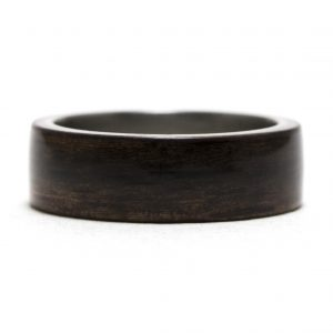 Ebony Wood Inner Lined With Titanium Ring