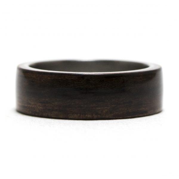 Ebony Lined Titanium Wood Ring