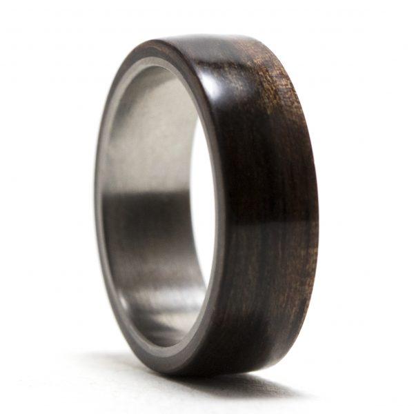 Ebony Wood Lined Titanium Ring
