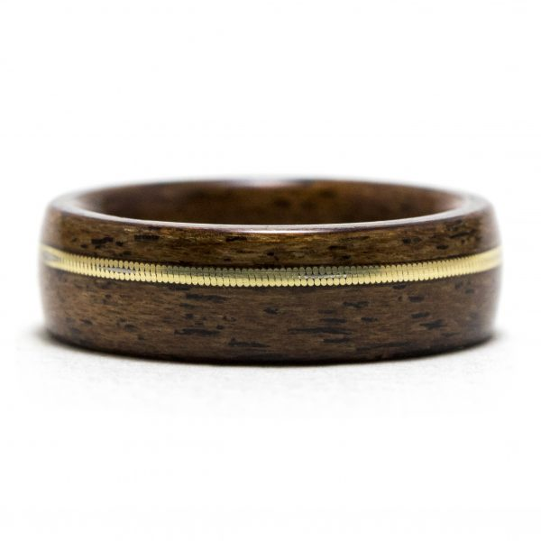 Mahogany Wooden Ring With Guitar String Inlay