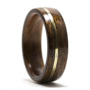 Mahogany Wood Ring Inlaid With Guitar String