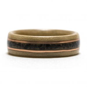 Maple Wood Ring With Copper And Black Agate Inlay – Size 9