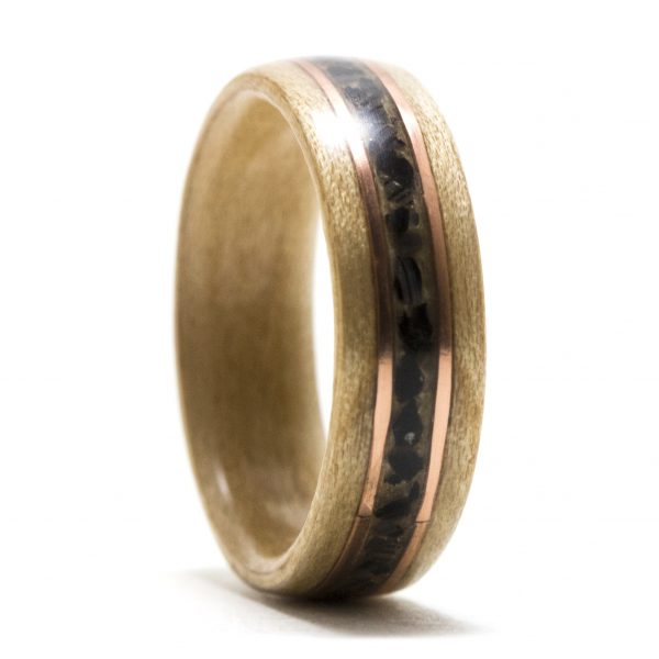 Maple Wood Ring Inlaid With Copper And Black Agate