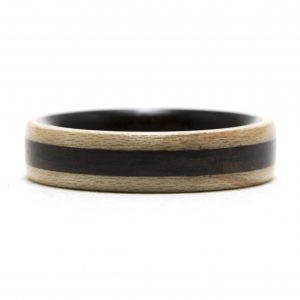 Maple Wood Ring Lined And Inlaid With Ebony – Size 9