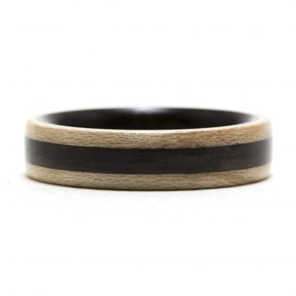 Maple Wooden Ring Lined And Inlaid With Ebony Wood