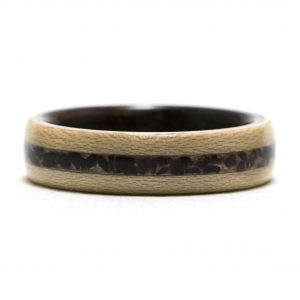 Maple Wood Ring Lined With Ebony And Obsidian Inlay – Size 9