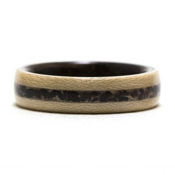 Maple Wooden Ring Lined With Ebony And Obsidian Inlay