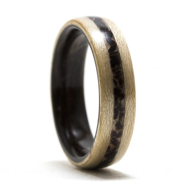 Maple Wood Ring Lined Ebony Inlaid Obsidian