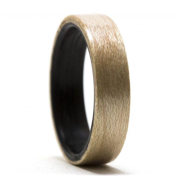 Maple Lined Ebony Wood Ring