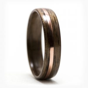Walnut Wood Ring Inlaid With Copper