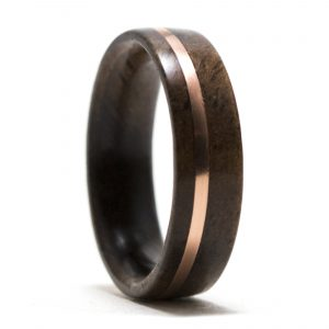 Walnut Wood Ring Inlaid With Copper – Size 5