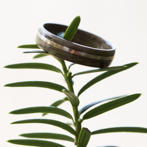 Walnut wooden ring inlaid with copper