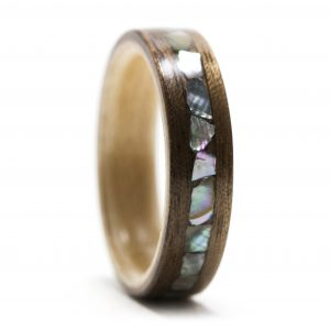 Walnut Wood Ring Lined With Maple And Abalone Inlay