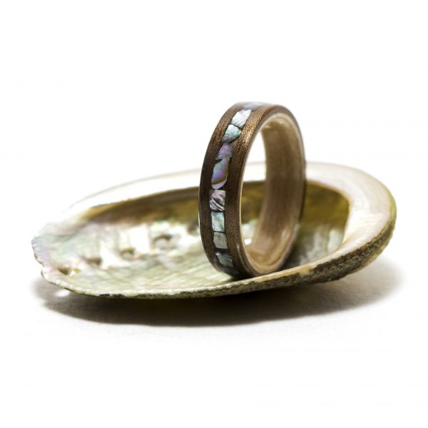 Walnut wood ring lined maple inlay abalone shell