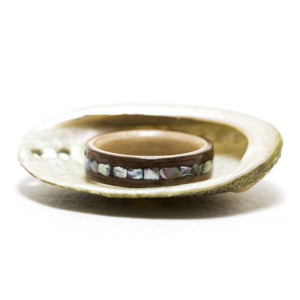 Walnut wooden ring inner lined with maple and inlaid with abalone shell