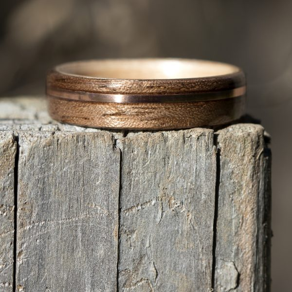 Walnut wooden ring inner lined with maple and inlaid with copper