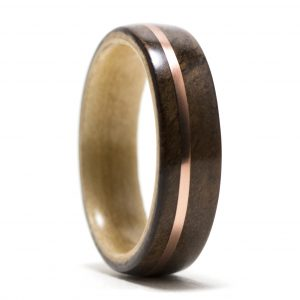 Walnut Wood Ring Lined With Maple And Copper Inlay – Size 10