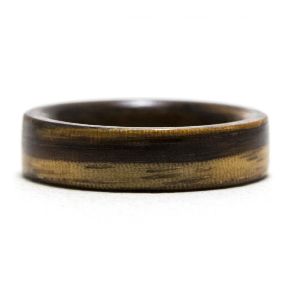 Zebrawood Lined Walnut Wooden Ring