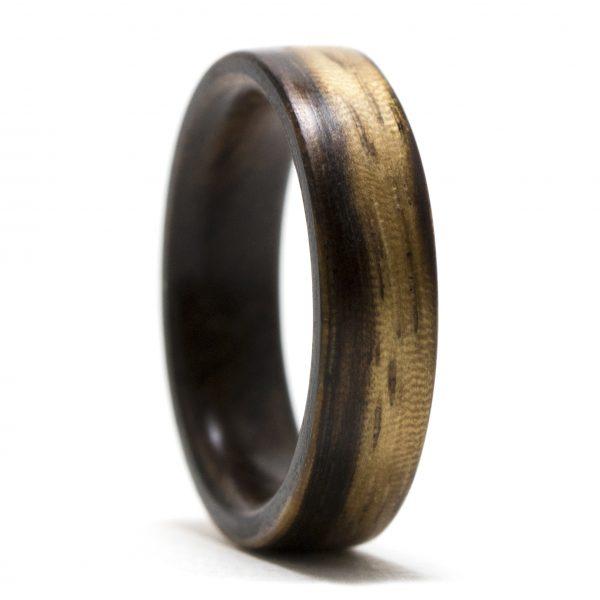 Zebrawood Lined Walnut Wood Ring
