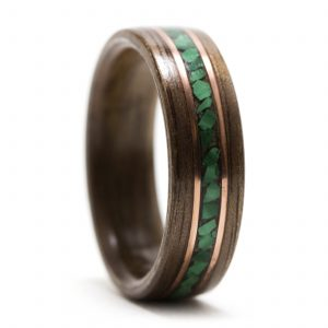 Koa Wood Ring With Malachite And Copper Inlay – Size 9