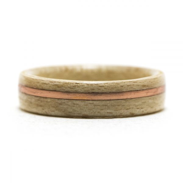 Maple Wooden Ring Inlaid With Copper