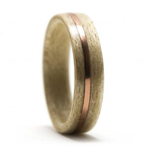 Maple Wood Ring With Copper Inlay – Size 7