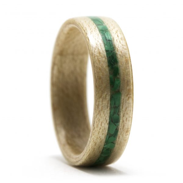 Maple Wooden Ring Inlaid With Malachite
