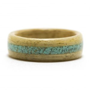 Movingui Wood Ring With Turquoise Inlay – Size 10