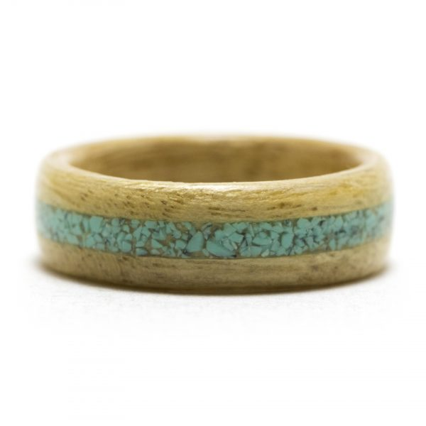 Movingui Wooden Ring Inlaid With Turquoise