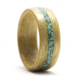 Movingui Wood Ring With Turquoise Inlay – Size 8