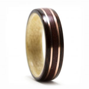 Rosewood Ring Lined With Maple, Red Jasper And Copper Inlay – Size 10.5