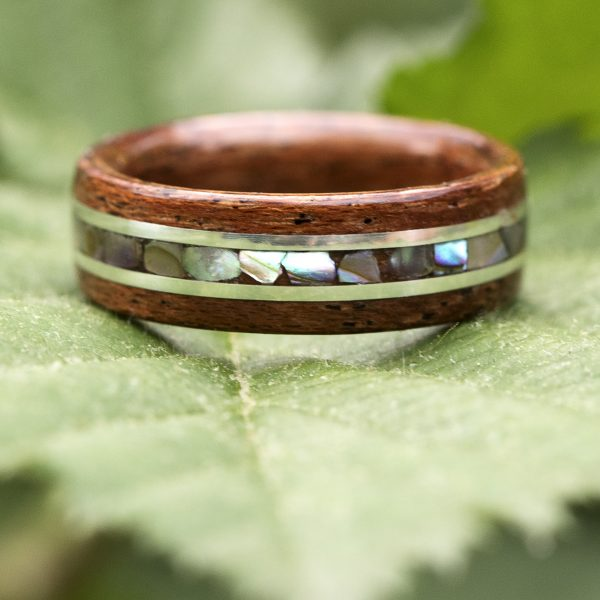 mahogany wood ring inlaid with silver and abalone shell