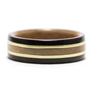 Ebony Wood Ring Lined With Cherry, Brass And Cherry Inlay