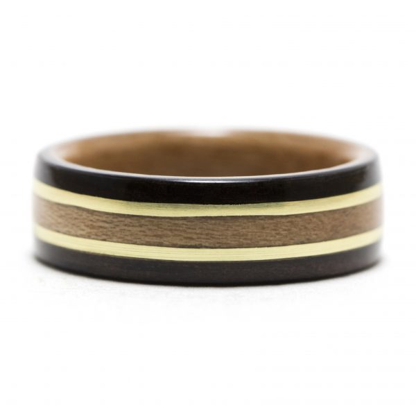 Ebony wooden ring inner lined with cherry and inlaid with cherry and brass