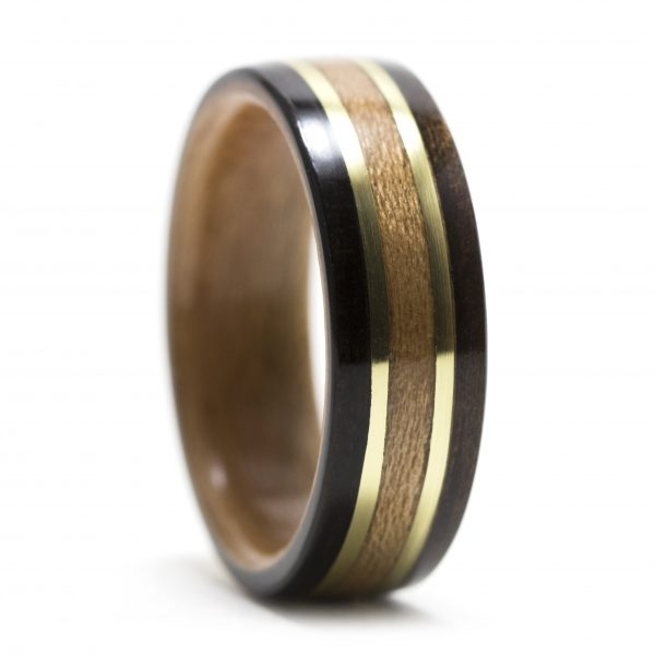 Ebony wood ring lined with cherry and brass/cherry inlay