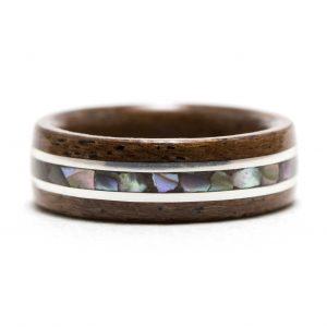 Mahogany Wood Ring With Silver And Abalone Shell Inlay