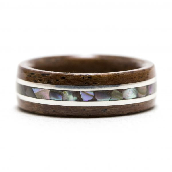 mahogany wooden ring with silver and abalone shell inlay