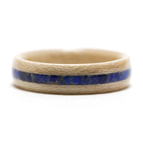 Maple wooden ring inlaid with lapis lazuli