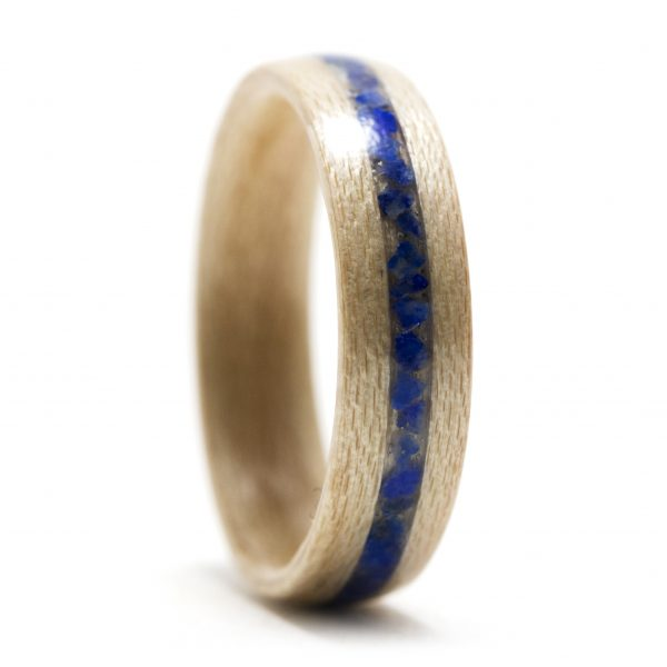 Maple wood ring inlaid with lapis lazuli
