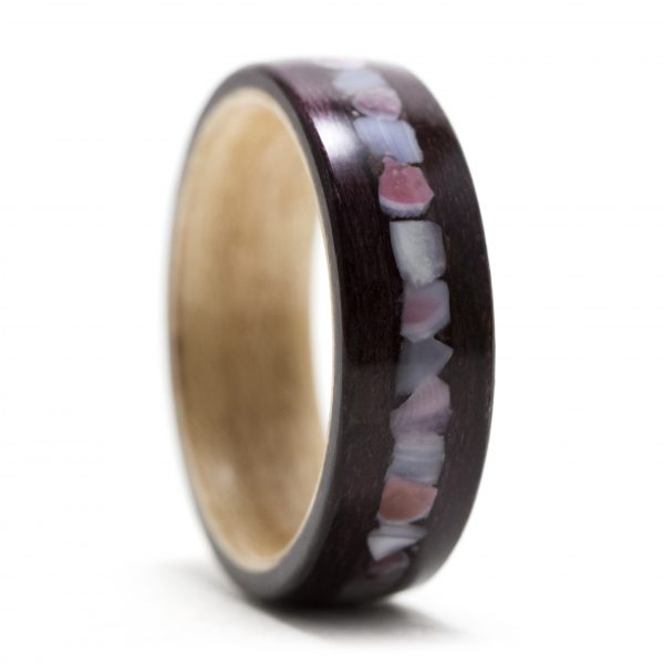 Purpleheart Wood Ring Inner Lined With Maple And Apple Blossom Shell Inlay