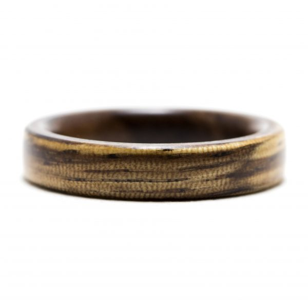 Zebrawood ring inner lined with walnut