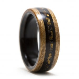 Cherry Wood Ring Lined With Ebony, Inlaid With Tiger Eye, Obsidian, And Ebony