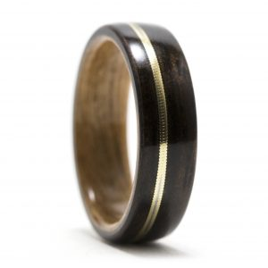 Ebony Wood Ring Lined With Cherry And Guitar String Inlay