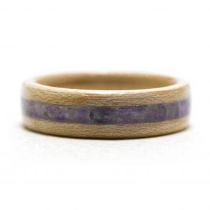 Maple Wood Ring With Amethyst Inlay