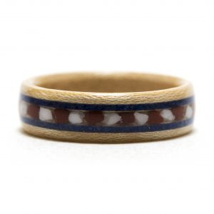 Maple Wood Ring With Red Jasper, Howlite, And Lapis Lazuli Inlay – USA v1 – Size 9